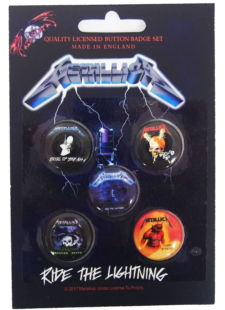 メタリカ・METALLICA・RIDE THE LIGHTNING・BUTTON BADGE SET 缶バッジセット(5個入り)