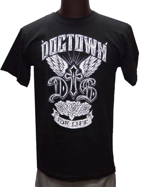 【DOGTOWN SKATES】FOR LIFE ブラック Tシャツ