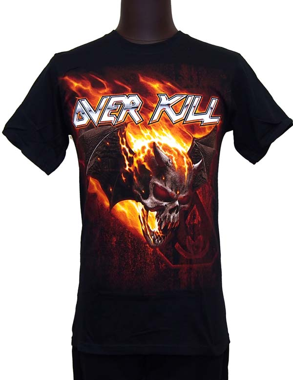 【OVERKILL】BAT SKULL OF FIRE B/P TOUR DATES 2013 バンドTシャツ オーヴァーキル
