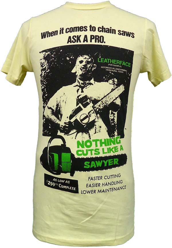 【THE TEXAS CHAINSAW MASSACRE】CUTS LIKE A SAWYER 映画Tシャツ